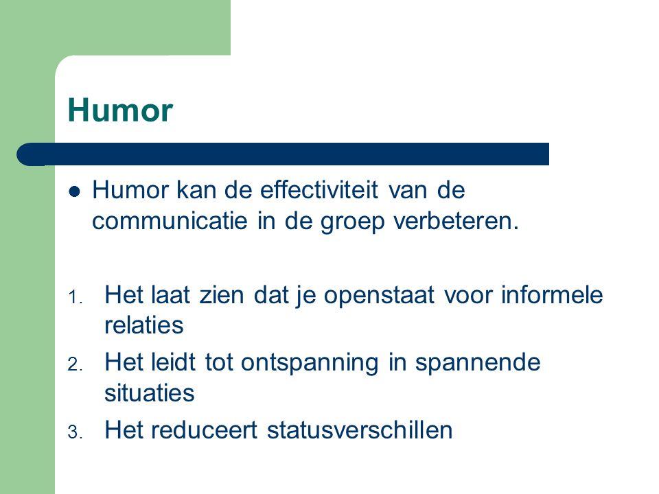 Humor Humor kan de effectiviteit van de communicatie in de groep verbeteren. 1. Het laat zien dat je openstaat voor informele relaties 2. Het leidt to