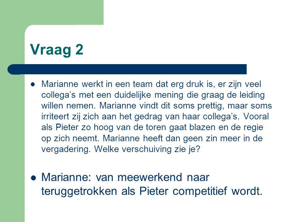 Vraag 2 Marianne werkt in een team dat erg druk is, er zijn veel collega's met een duidelijke mening die graag de leiding willen nemen. Marianne vindt