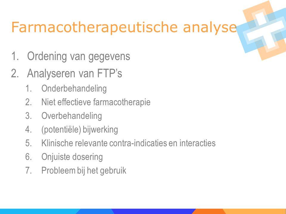 Farmacotherapeutische analyse 1.Ordening van gegevens 2.Analyseren van FTP's 1.Onderbehandeling 2.Niet effectieve farmacotherapie 3.Overbehandeling 4.