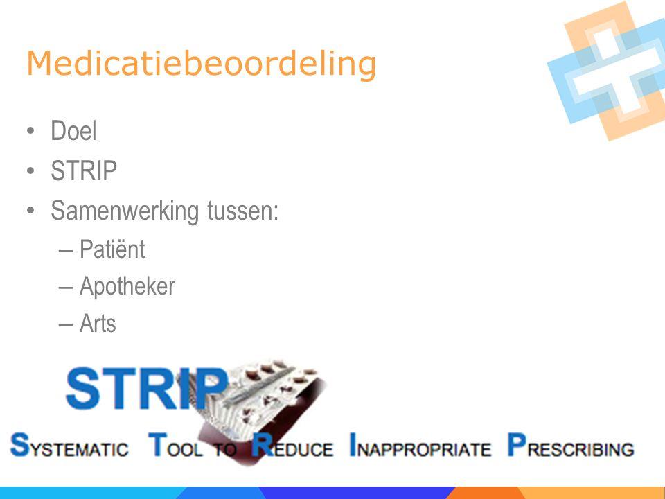 Medicatiebeoordeling Doel STRIP Samenwerking tussen: – Patiënt – Apotheker – Arts