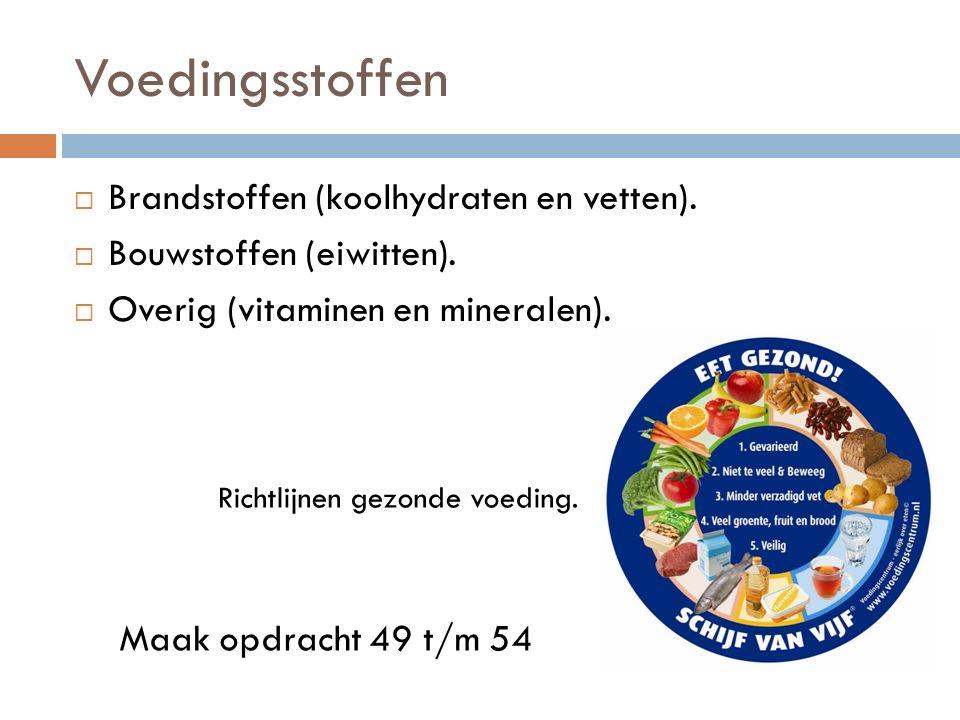 Voedingsstoffen  Brandstoffen (koolhydraten en vetten).  Bouwstoffen (eiwitten).  Overig (vitaminen en mineralen). Richtlijnen gezonde voeding. Maa