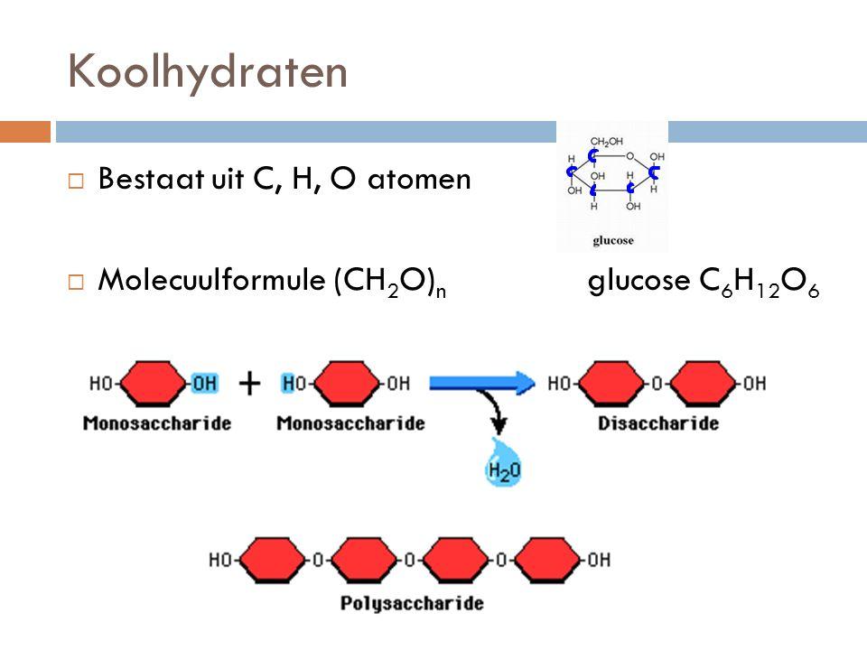 Koolhydraten  Bestaat uit C, H, O atomen  Molecuulformule (CH 2 O) n glucose C 6 H 12 O 6