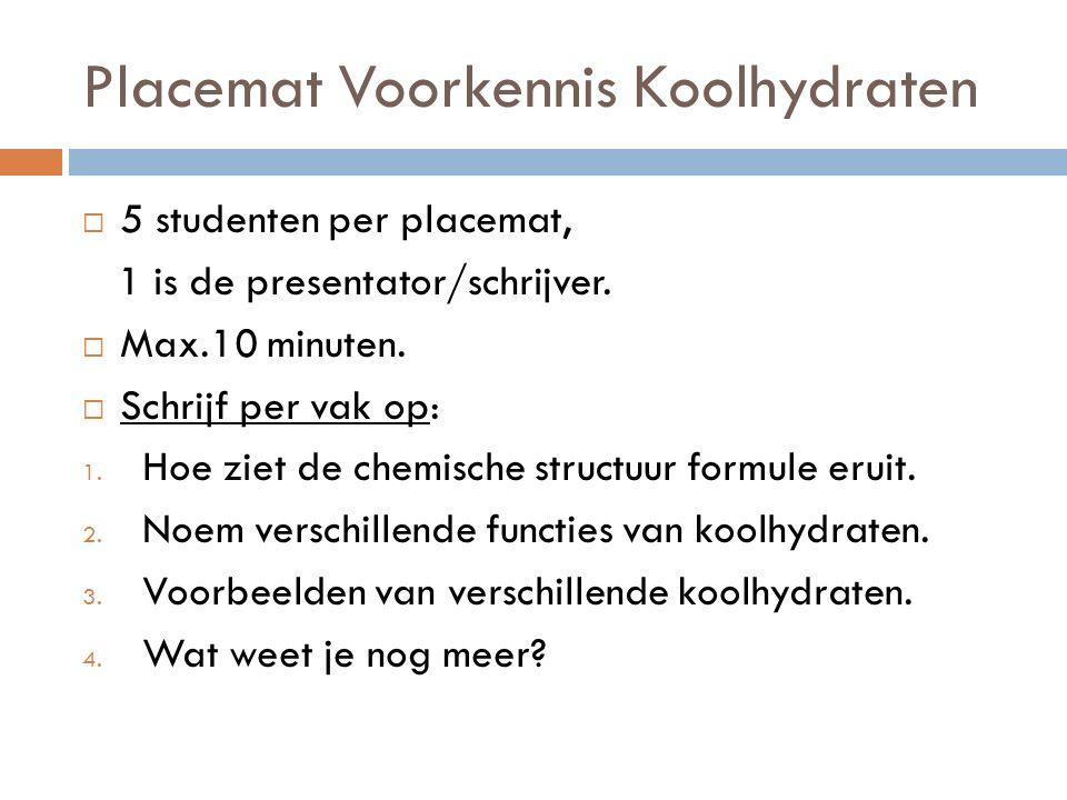  5 studenten per placemat, 1 is de presentator/schrijver.  Max.10 minuten.  Schrijf per vak op: 1. Hoe ziet de chemische structuur formule eruit. 2