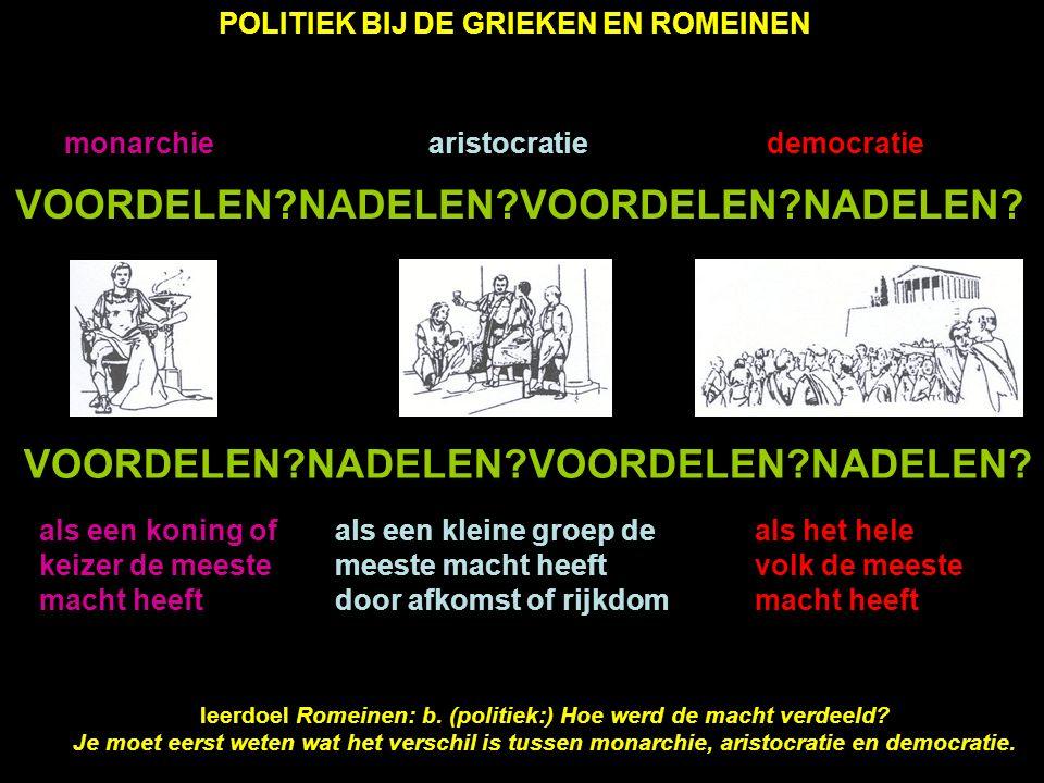 POLITIEK BIJ DE GRIEKEN EN ROMEINEN KONINGSTIJD ± 750 tot ± 500 vC REPUBLIEK ± 500 tot ± 0 KEIZERRIJK ± 0 tot ± 500 nC 1 KONING 1 vorst die de meeste macht heeft SENAAT (raad met grootgrond- bezitters van goede afkomst), geeft advies aan koning VOLKSVERTEGEN- WOORDIGING (mannen met burger- recht) heeft weinig macht 2 CONSULS voor 1 jaar gekozen uit de senaat, hebben samen met senaat de meeste macht SENAAT regeert samen met consuls VOLKSVERTEGENWOORDIGING regeert samen met senaat, maar doet wat senatoren willen 1 KEIZER 1 vorst die boven de consuls staat, heeft meeste macht om burgeroorlog te voorkomen 2 CONSULS doen wat keizer wil, hebben geen macht meer SENAAT doet wat keizer wil VOLKSVERTEGENWOORDIGING vergadert bijna niet meer, doet wat keizer wil monarchiearistocratiemonarchie WAS ROMEINSE RIJK MONARCHIE.