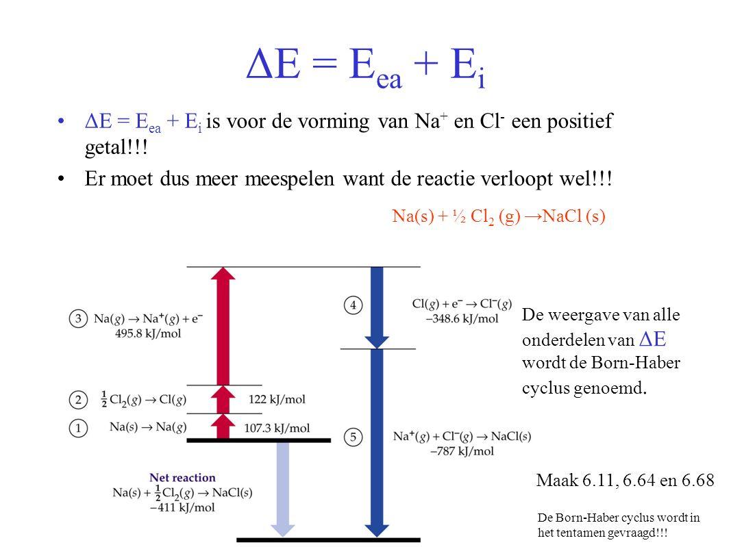 ΔE = E ea + E i ΔE = E ea + E i is voor de vorming van Na + en Cl - een positief getal!!.