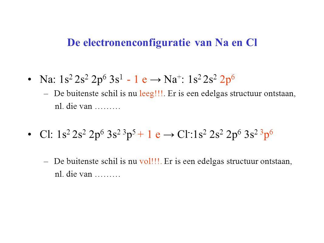De electronenconfiguratie van Na en Cl Na: 1s 2 2s 2 2p 6 3s 1 - 1 e → Na + : 1s 2 2s 2 2p 6 –De buitenste schil is nu leeg!!!.