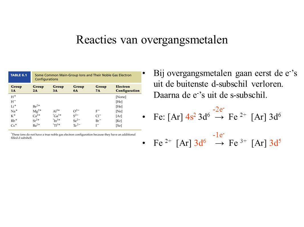 Reacties van overgangsmetalen Bij overgangsmetalen gaan eerst de e - 's uit de buitenste d-subschil verloren.