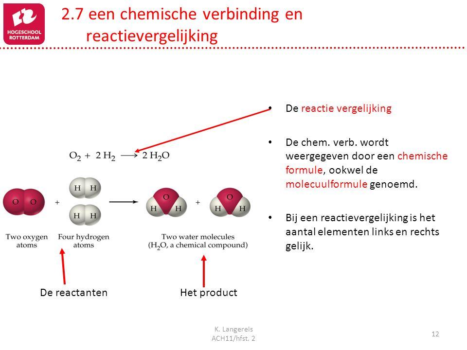 K. Langereis ACH11/hfst. 2 12 De reactantenHet product De reactie vergelijking De chem. verb. wordt weergegeven door een chemische formule, ookwel de