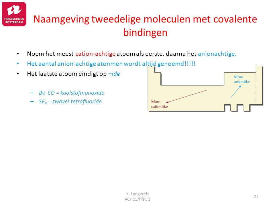 K. Langereis ACH11/hfst. 2 22 Naamgeving tweedelige moleculen met covalente bindingen Noem het meest cation-achtige atoom als eerste, daarna het anion
