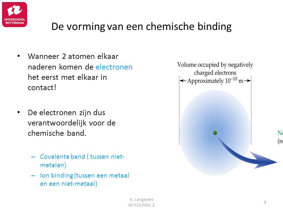 K. Langereis ACH11/hfst. 2 4 De vorming van een chemische binding Wanneer 2 atomen elkaar naderen komen de electronen het eerst met elkaar in contact!
