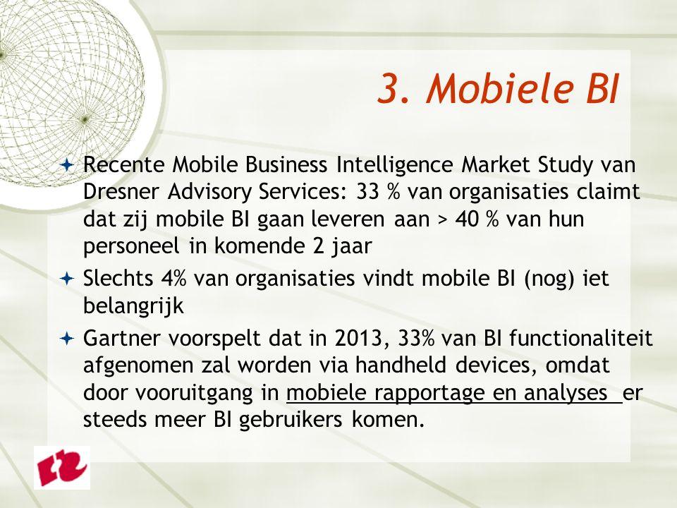 3. Mobiele BI  Recente Mobile Business Intelligence Market Study van Dresner Advisory Services: 33 % van organisaties claimt dat zij mobile BI gaan l