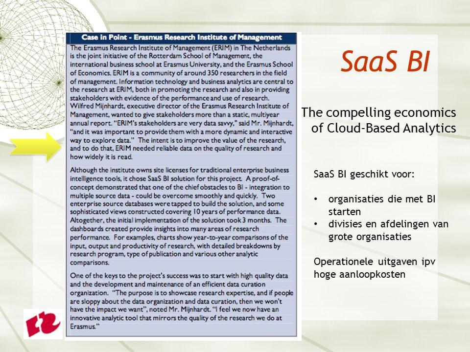 SaaS BI  The compelling economics of Cloud-Based Analytics SaaS BI geschikt voor: organisaties die met BI starten divisies en afdelingen van grote organisaties Operationele uitgaven ipv hoge aanloopkosten