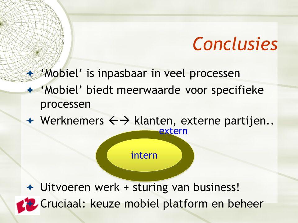  'Mobiel' is inpasbaar in veel processen  'Mobiel' biedt meerwaarde voor specifieke processen  Werknemers  klanten, externe partijen..