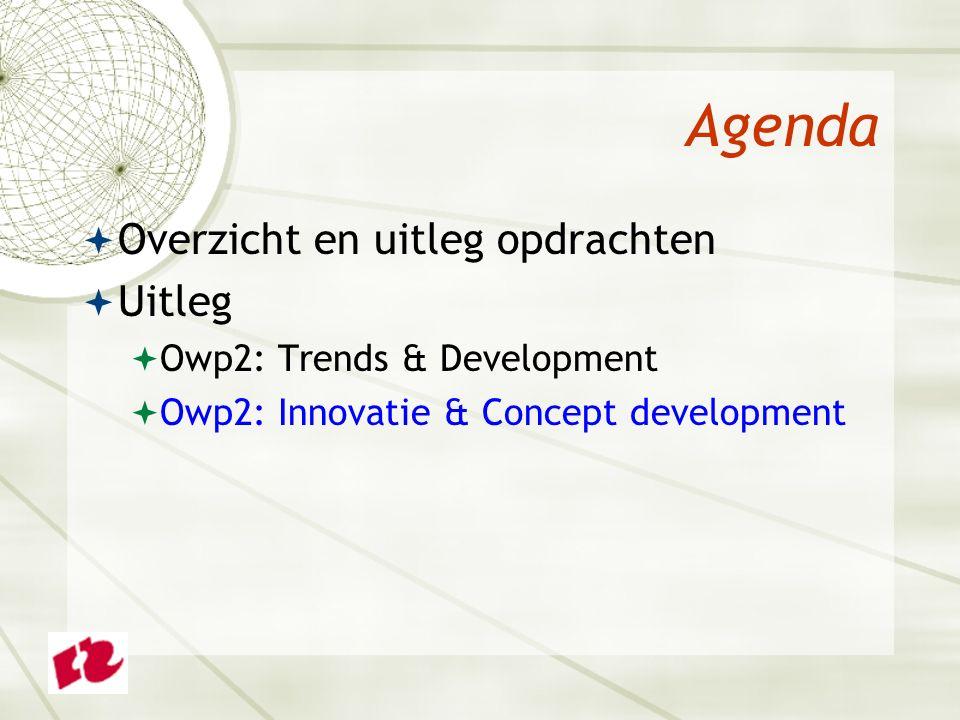 Agenda  Overzicht en uitleg opdrachten  Uitleg  Owp2: Trends & Development  Owp2: Innovatie & Concept development