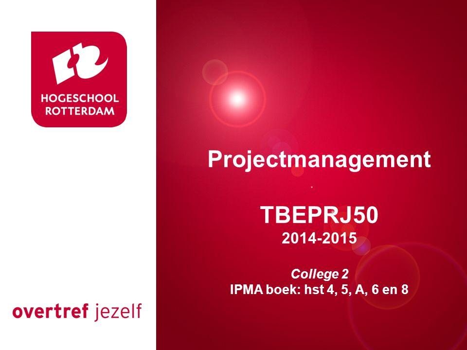 Presentatie titel Rotterdam, 00 januari 2007 Projectmanagement TBEPRJ50 2014-2015 College 2 IPMA boek: hst 4, 5, A, 6 en 8