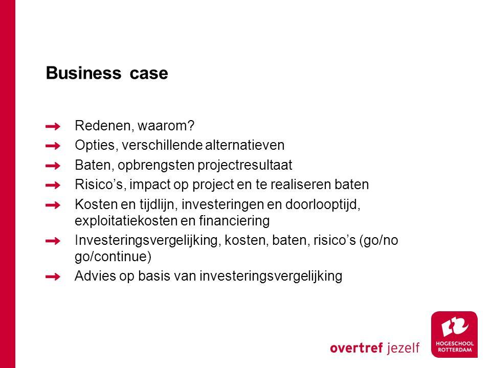 Business case Redenen, waarom? Opties, verschillende alternatieven Baten, opbrengsten projectresultaat Risico's, impact op project en te realiseren ba