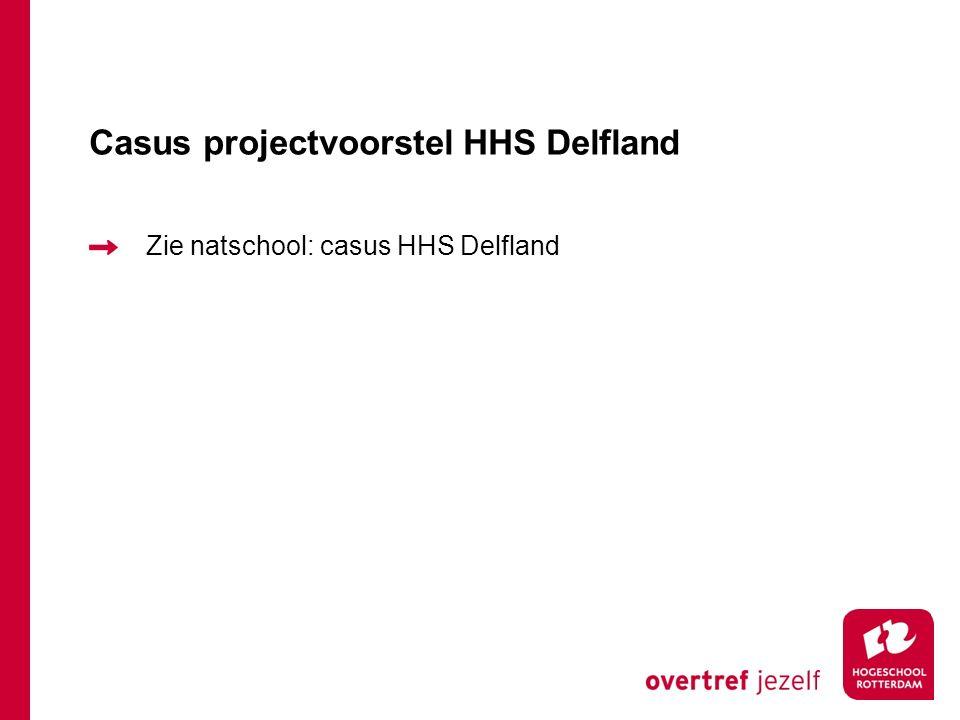 Casus projectvoorstel HHS Delfland Zie natschool: casus HHS Delfland