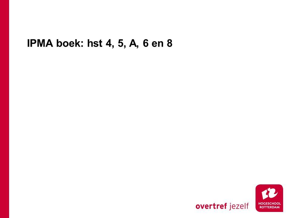 IPMA boek: hst 4, 5, A, 6 en 8