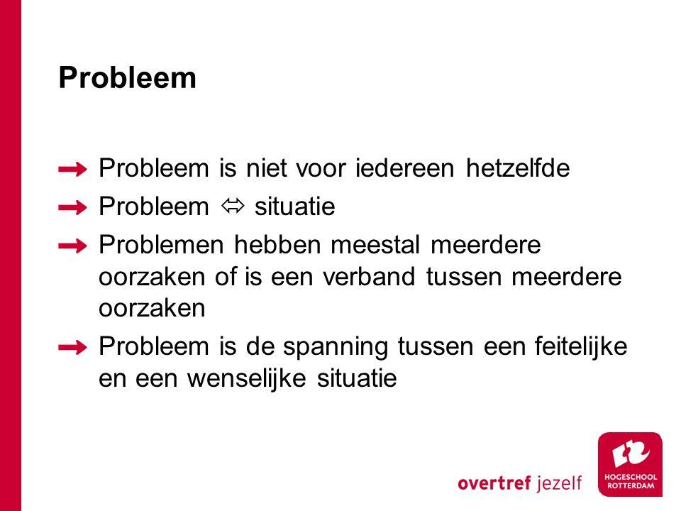 Probleem Probleem is niet voor iedereen hetzelfde Probleem  situatie Problemen hebben meestal meerdere oorzaken of is een verband tussen meerdere oorzaken Probleem is de spanning tussen een feitelijke en een wenselijke situatie