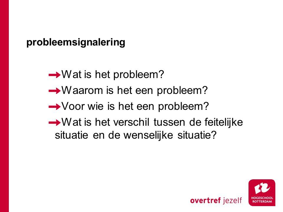 probleemsignalering Wat is het probleem? Waarom is het een probleem? Voor wie is het een probleem? Wat is het verschil tussen de feitelijke situatie e