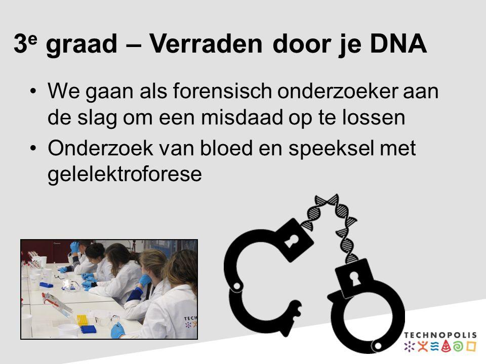 3 e graad – Verraden door je DNA We gaan als forensisch onderzoeker aan de slag om een misdaad op te lossen Onderzoek van bloed en speeksel met gelelektroforese