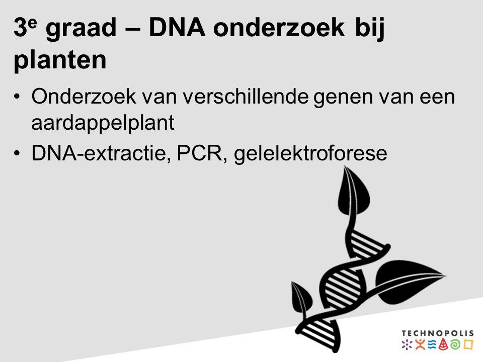 3 e graad – DNA onderzoek bij planten Onderzoek van verschillende genen van een aardappelplant DNA-extractie, PCR, gelelektroforese