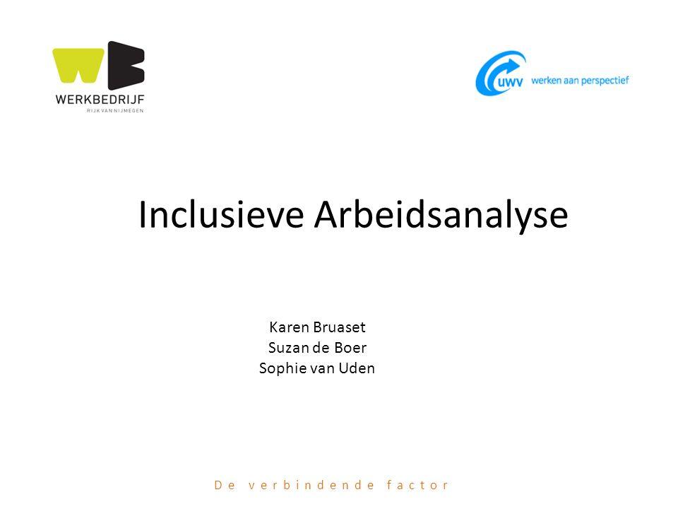 De verbindende factor Inclusieve Arbeidsanalyse Karen Bruaset Suzan de Boer Sophie van Uden