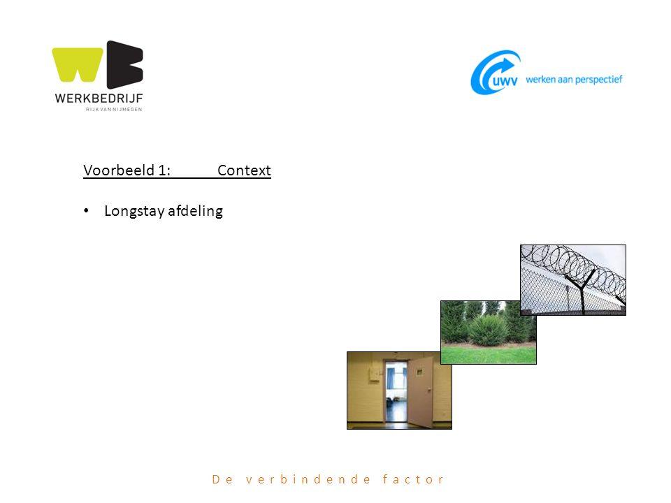 De verbindende factor Voorbeeld 1: Context Longstay afdeling