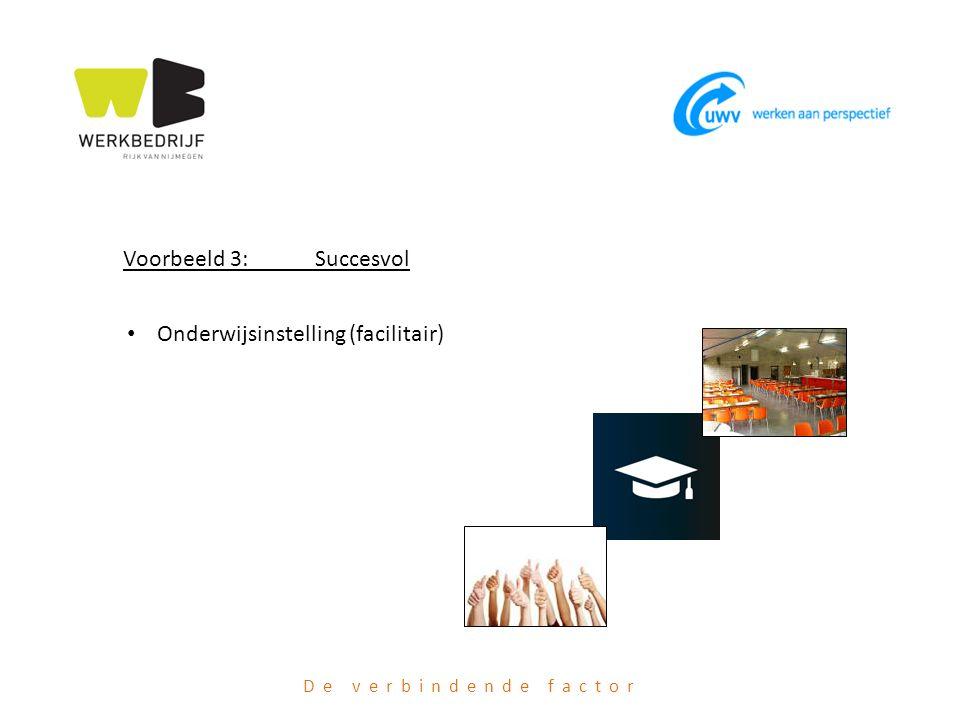 De verbindende factor Voorbeeld 3: Succesvol Onderwijsinstelling (facilitair)