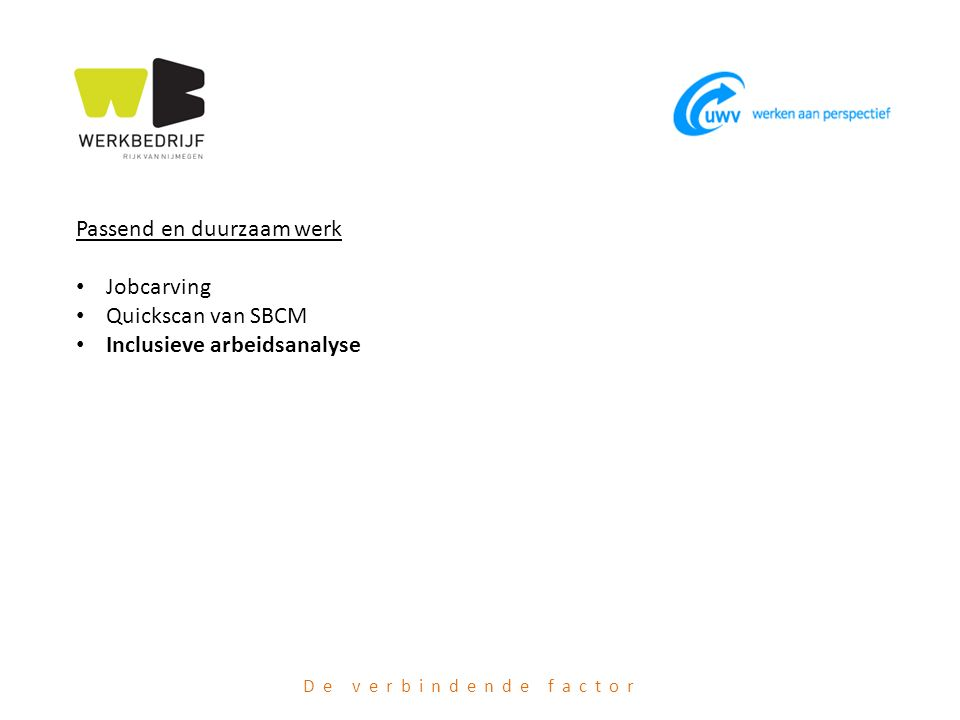 Passend en duurzaam werk Jobcarving Quickscan van SBCM Inclusieve arbeidsanalyse