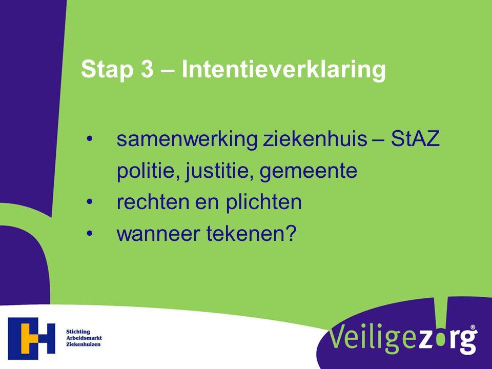 Stap 3 – Intentieverklaring samenwerking ziekenhuis – StAZ politie, justitie, gemeente rechten en plichten wanneer tekenen