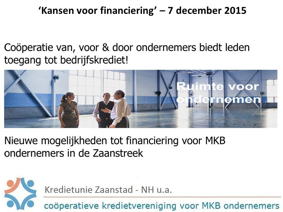 'Kansen voor financiering' – 7 december 2015