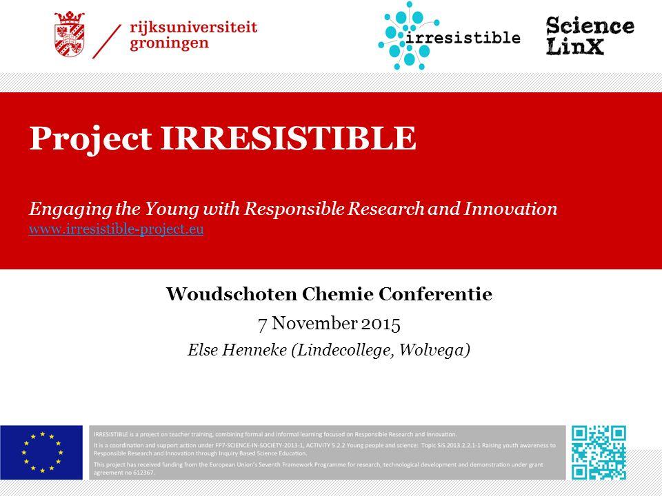 Inhoud van deze workshop  Algemene informatie over project Irresistible  Opzet van de modules  Kennismaken met een aantal modules  Straks in de klas?