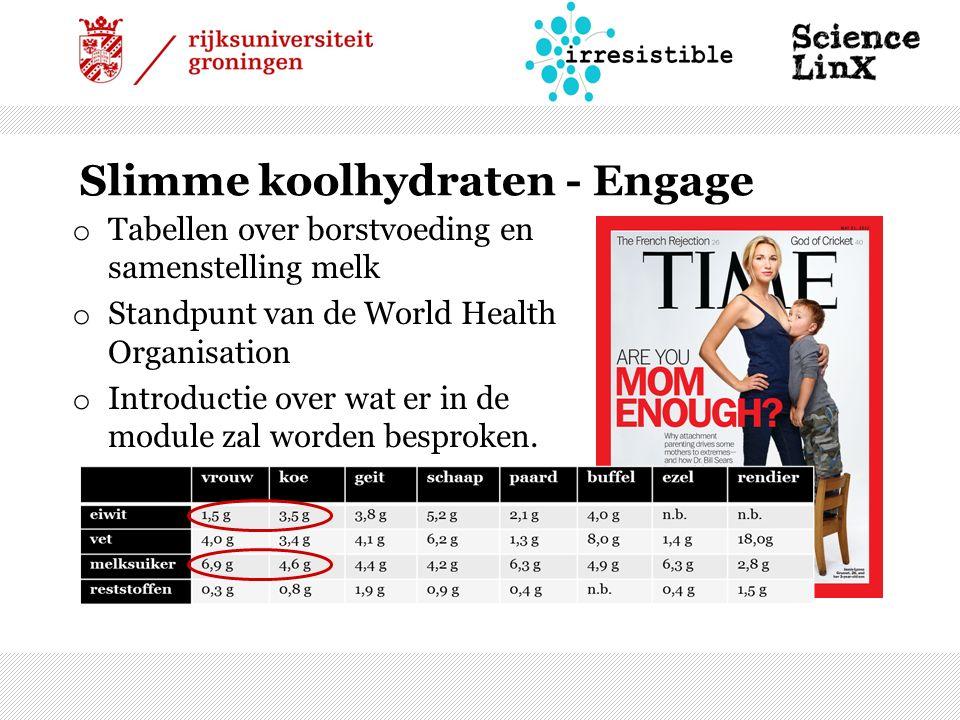 Slimme koolhydraten - Engage o Tabellen over borstvoeding en samenstelling melk o Standpunt van de World Health Organisation o Introductie over wat er in de module zal worden besproken.