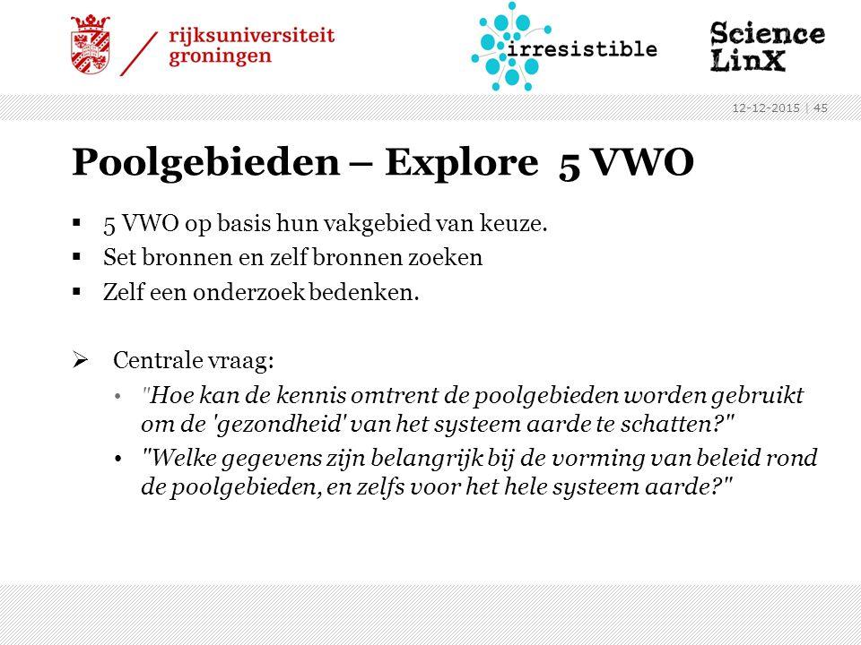 Poolgebieden – Explore 5 VWO  5 VWO op basis hun vakgebied van keuze.