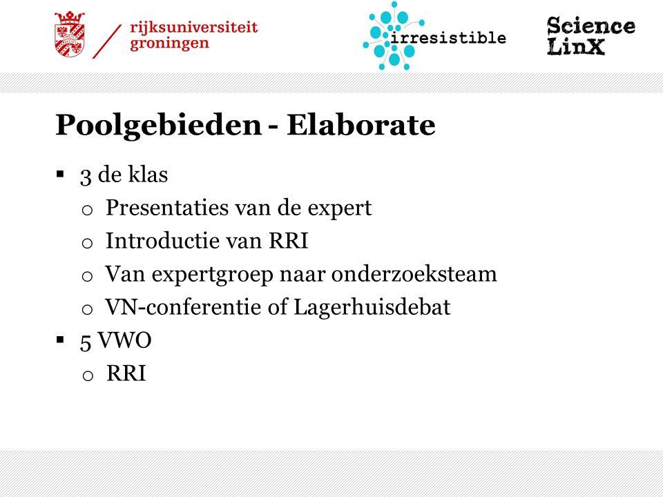  3 de klas o Presentaties van de expert o Introductie van RRI o Van expertgroep naar onderzoeksteam o VN-conferentie of Lagerhuisdebat  5 VWO o RRI Poolgebieden - Elaborate