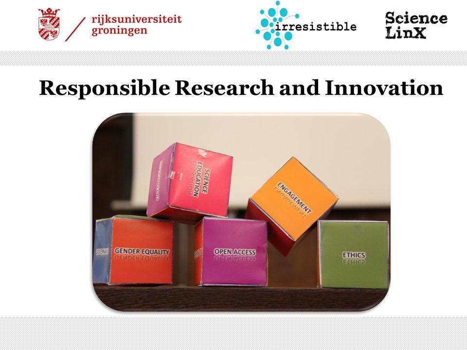 Engagement – Betrokkenheid  Overheid, onderzoekers, industrie en burgers werken samen aan onderzoek en innovatie.