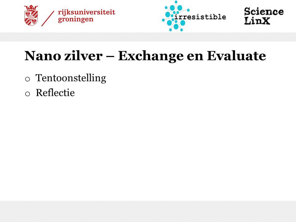 Nano zilver – Exchange en Evaluate o Tentoonstelling o Reflectie