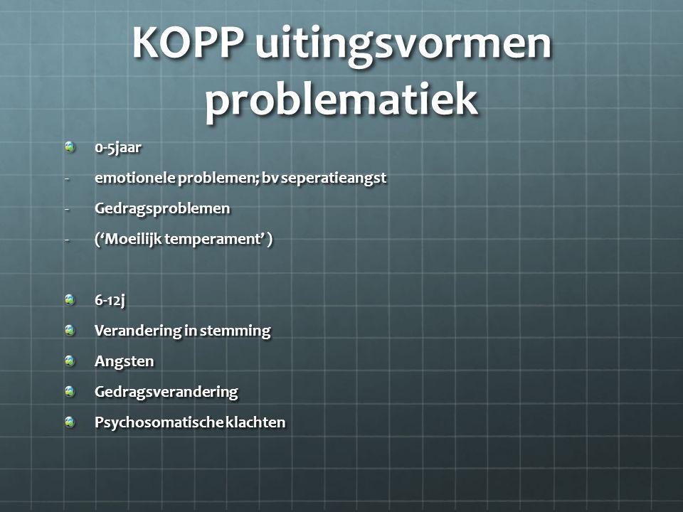 KOPP uitingsvormen problematiek 0-5jaar -emotionele problemen; bv seperatieangst -Gedragsproblemen -('Moeilijk temperament' ) 6-12j Verandering in ste