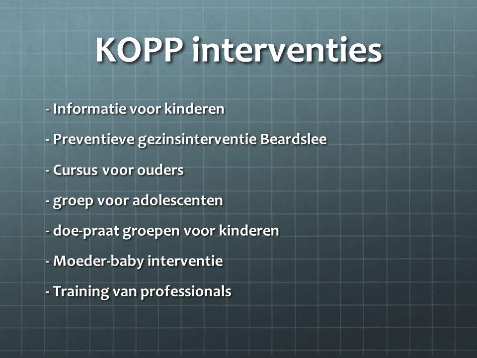 KOPP interventies - Informatie voor kinderen - Preventieve gezinsinterventie Beardslee - Cursus voor ouders - groep voor adolescenten - doe-praat groepen voor kinderen - Moeder-baby interventie - Training van professionals