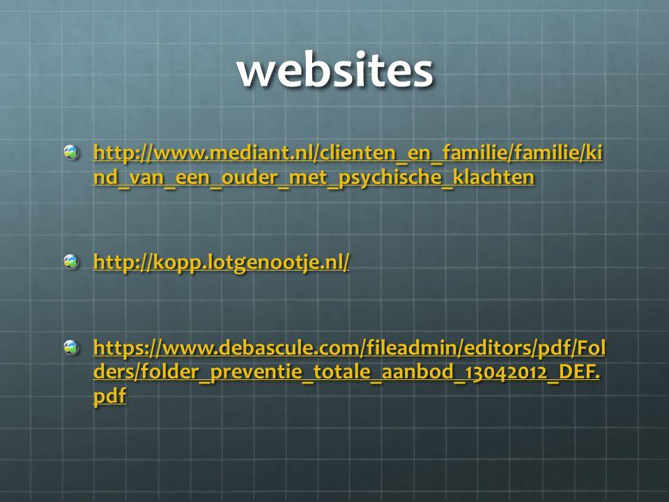 websites http://www.mediant.nl/clienten_en_familie/familie/ki nd_van_een_ouder_met_psychische_klachten http://www.mediant.nl/clienten_en_familie/familie/ki nd_van_een_ouder_met_psychische_klachten http://kopp.lotgenootje.nl/ https://www.debascule.com/fileadmin/editors/pdf/Fol ders/folder_preventie_totale_aanbod_13042012_DEF.