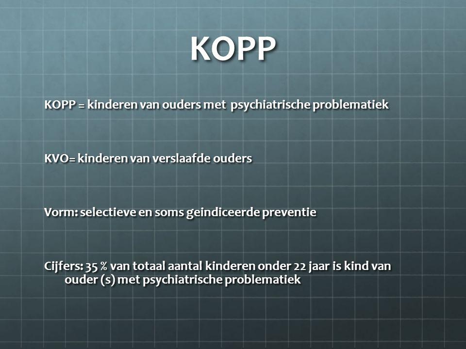 KOPP KOPP = kinderen van ouders met psychiatrische problematiek KVO= kinderen van verslaafde ouders Vorm: selectieve en soms geindiceerde preventie Ci