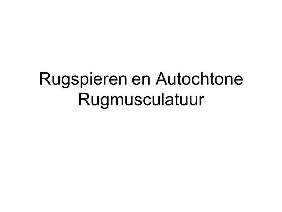 Rugspieren en Autochtone Rugmusculatuur