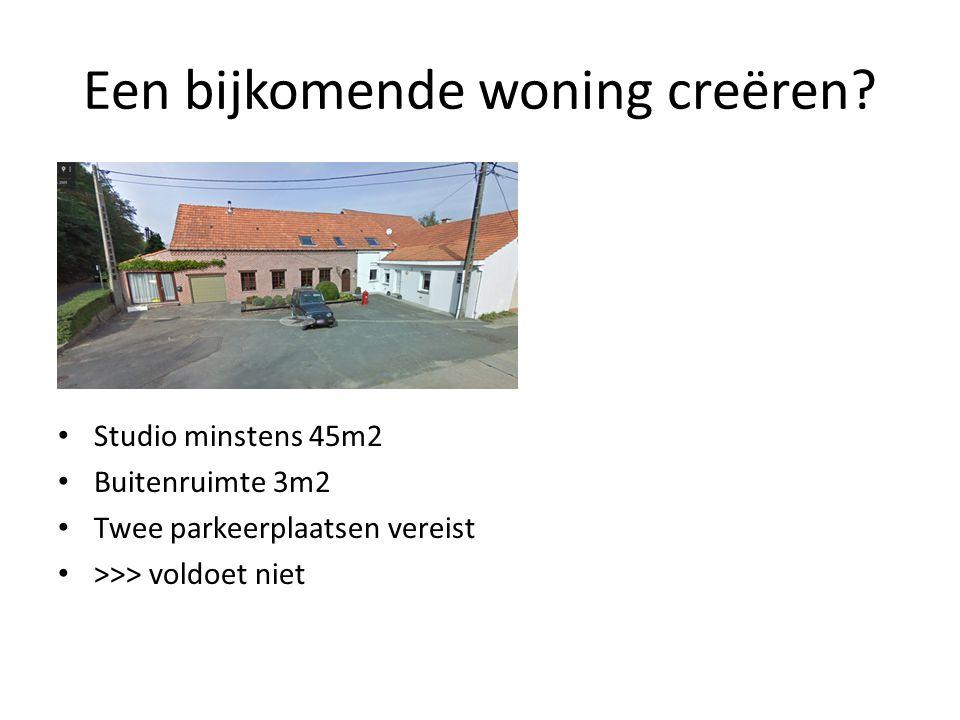 Een bijkomende woning creëren? Studio minstens 45m2 Buitenruimte 3m2 Twee parkeerplaatsen vereist >>> voldoet niet