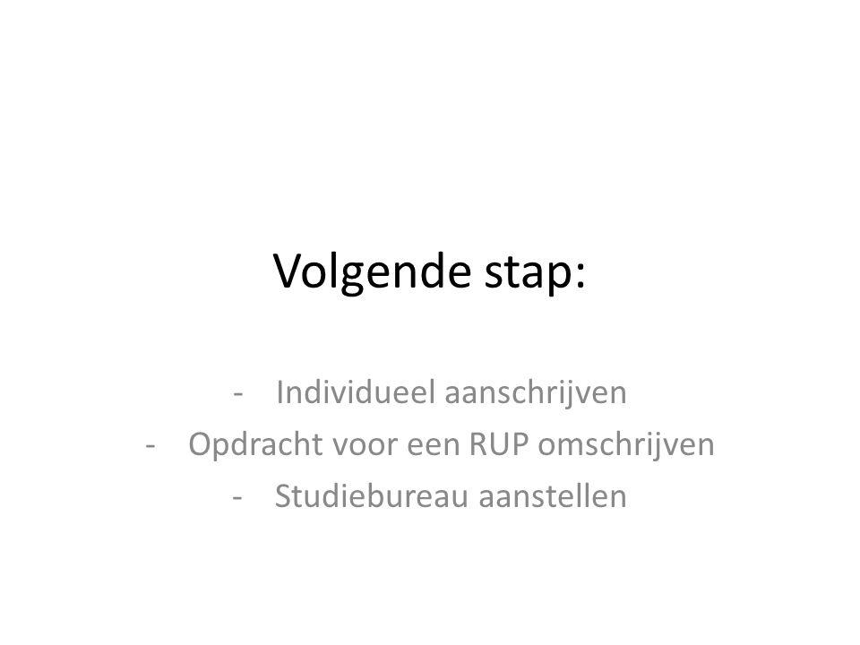 Volgende stap: -Individueel aanschrijven -Opdracht voor een RUP omschrijven -Studiebureau aanstellen