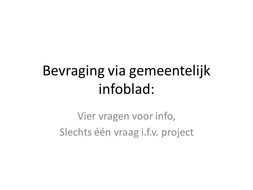 Bevraging via gemeentelijk infoblad: Vier vragen voor info, Slechts één vraag i.f.v. project