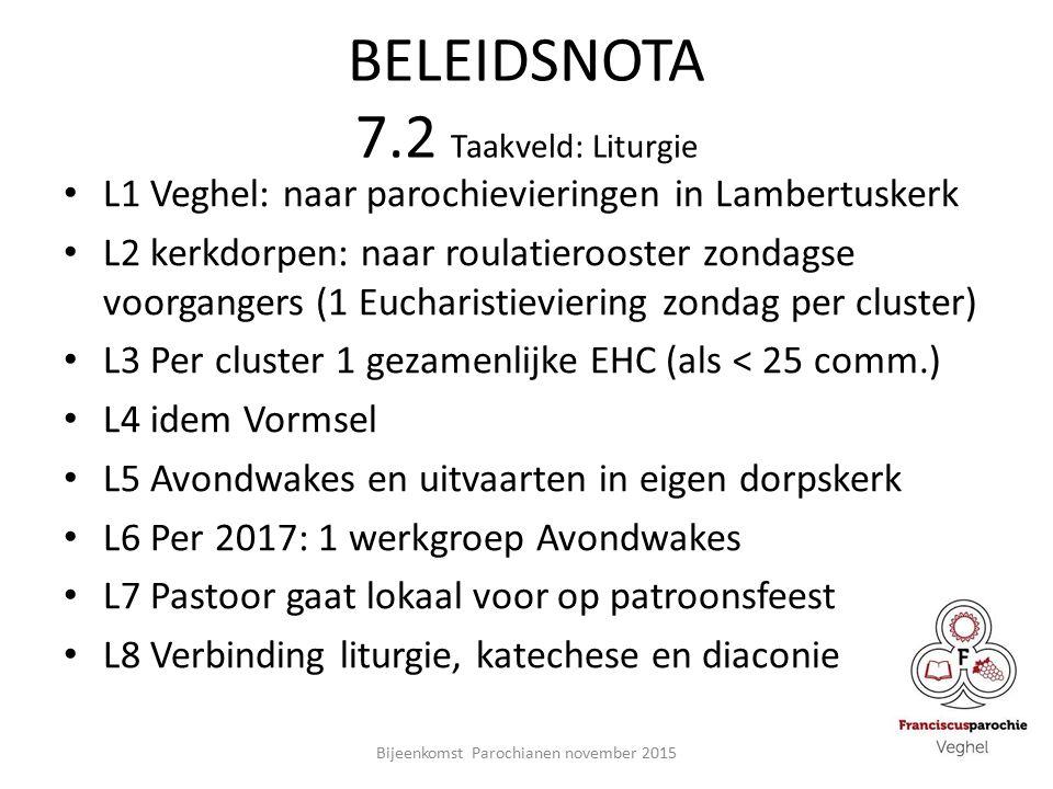 BELEIDSNOTA 7.2 Taakveld: Liturgie L1 Veghel: naar parochievieringen in Lambertuskerk L2 kerkdorpen: naar roulatierooster zondagse voorgangers (1 Eucharistieviering zondag per cluster) L3 Per cluster 1 gezamenlijke EHC (als < 25 comm.) L4 idem Vormsel L5 Avondwakes en uitvaarten in eigen dorpskerk L6 Per 2017: 1 werkgroep Avondwakes L7 Pastoor gaat lokaal voor op patroonsfeest L8 Verbinding liturgie, katechese en diaconie Bijeenkomst Parochianen november 2015