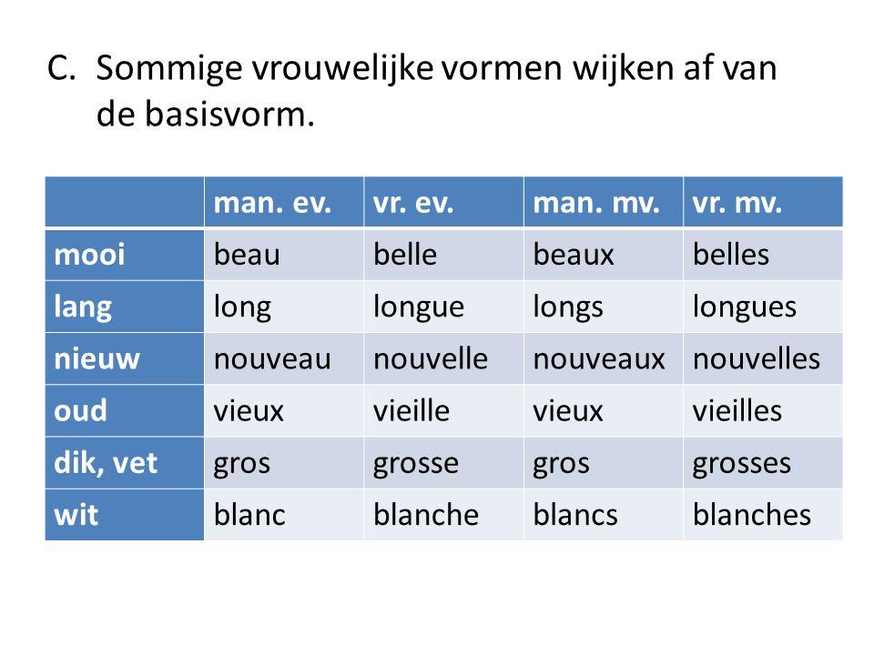 C.Sommige vrouwelijke vormen wijken af van de basisvorm.