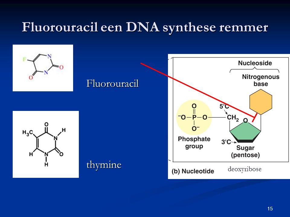 15 Fluorouracil een DNA synthese remmer Fluorouracil thymine deoxyribose