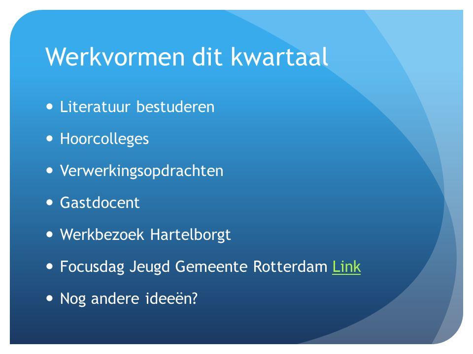 Werkvormen dit kwartaal Literatuur bestuderen Hoorcolleges Verwerkingsopdrachten Gastdocent Werkbezoek Hartelborgt Focusdag Jeugd Gemeente Rotterdam LinkLink Nog andere ideeën?